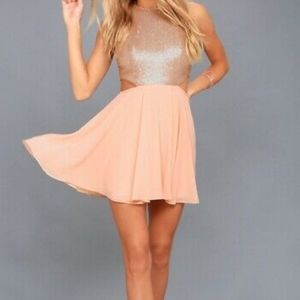 NWT Lulu's Sequin Cutout Sides Baby Pink Dress